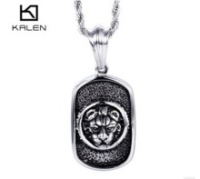 Kalen Fashion Lion Head Pendant Necklace 2017 New Personalised Stainless Steel Necklace Jewelry Cheap Accessories For Men(China)