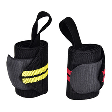 1PCS Black+Yellow/Black+Red Weight Lifting Strap Fitness Gym Sport Wrist Wrap Bandage Hand Support Wristband(China)