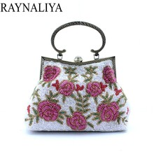 High Quality Handmade Embroidery Flower Evening Bag With Chain Luxury Beads Dinner Bags Rhinestone Casual Tote Smysfx-f0039(China)