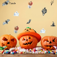 Wall Stickers For Halloween Bat Pumpkin Ghost Wall Stickers Quote Art DIY Decal Mural Decor Living Room Wall Window Decals(China)