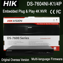 DS-7604NI-K1/4P NEW Hik 4K NVR 4ch NVR  4POE port CCTV Recorder 1SATA for 1HDD Up to 8MP resolution recording CCTV NVR 3840x2160