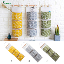Pawaca Home Creative Wardrobe Hang Bag Cotton Linen Storage bag Wall Pouch Cosmetic Toys Organize Pockets stationery Contain(China)