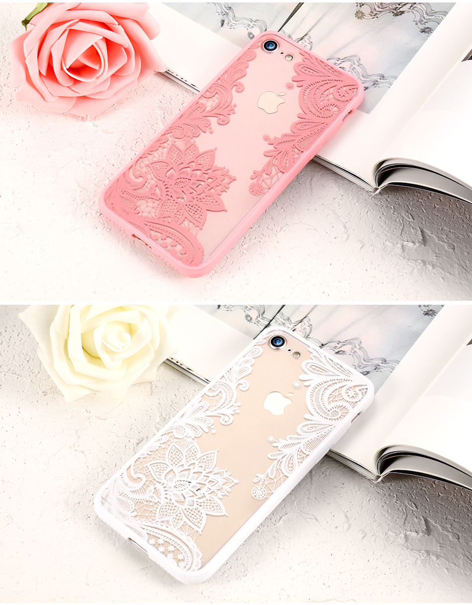 KISSCASE Case For iPhone 6S 6 7 8 Plus XS Max Cover 3D Lace Flower Phone Shell For iPhone 5S 5 SE XR X 10 Sexy Lace Cases Capa