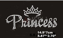 "10pcs/Lot Fashion ""Princess"" with crown hotfix rhinestone,heat transfer design iron on rhinestone motif(ss-k1561)"