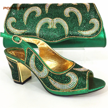 Shoe and Bag Set New 2018 Women Shoes and Bag Set In Italy Green Color Italian Shoes with Matching Bags Set Decorated with Stone(China)