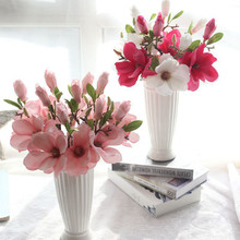 NEW European Style Fake Artificial Flowers Leaf Magnolia Floral Wedding Bouquet Party Home Decor Hotel Office Decor high quality(China)