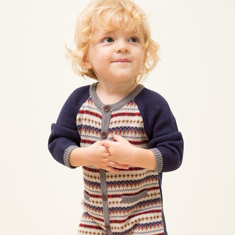 Spring Autumn Baby Romper Jumpsuit jacquard Sweater leotard children Jacquard weave Cotton Kids Crawling Clothes Home Pajamas<br>
