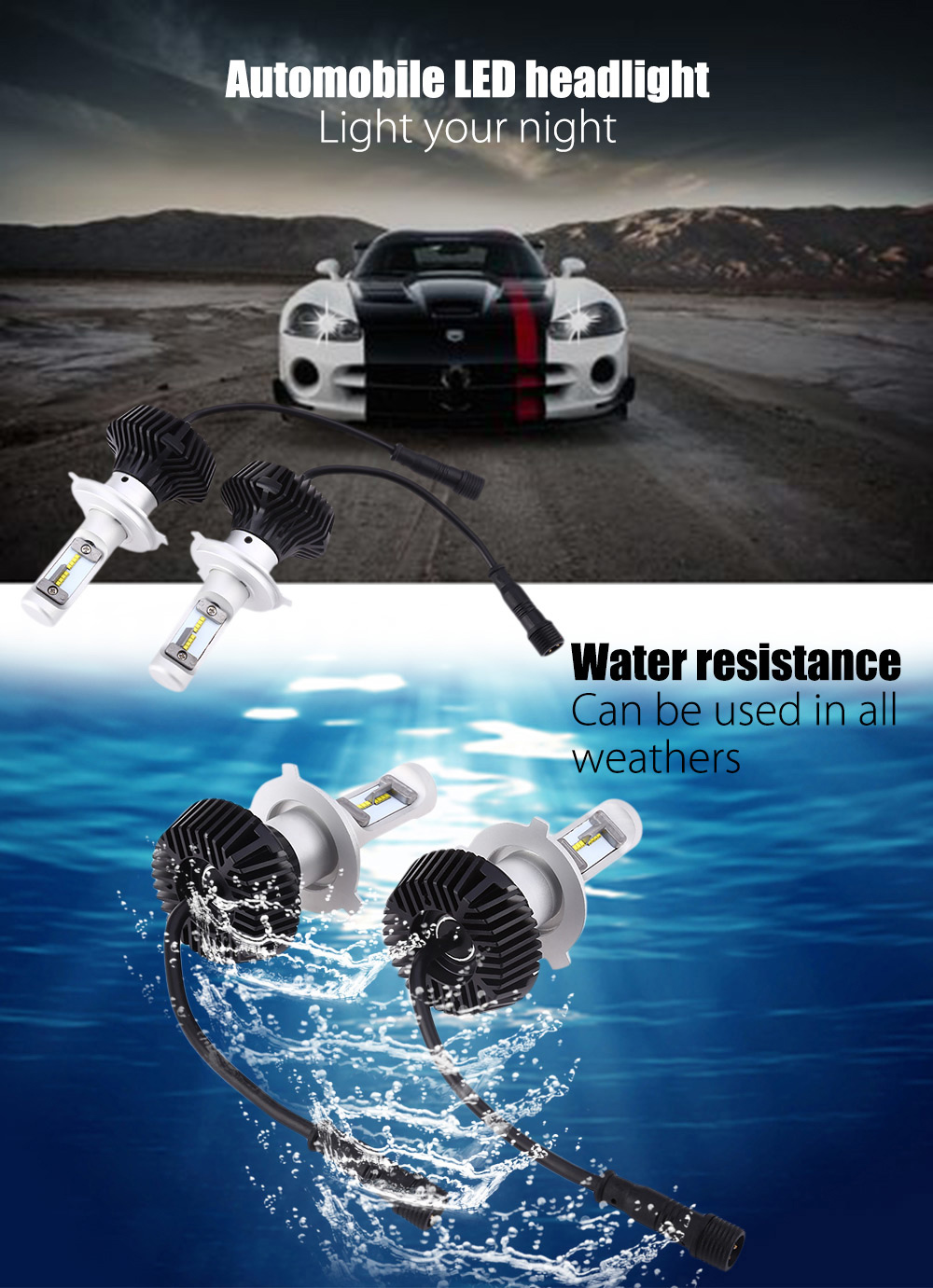 Universal H7 Car Integrated LED Headlight 6500K Water Resistance 60W Bright Vehicle Lamp 60W Long Life More 50000 Hours<br><br>Aliexpress