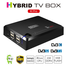 Original MECOOL KI Pro Android TV Box Supports DVB S2 T2 DVB-C Amlogic S905D 4K 3D Media Player DDR4 2GB RAM 16GB AC Wifi BT Box