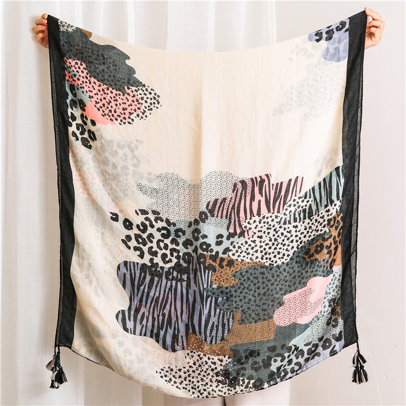 2019 Newest Women Leopard Pattern Cotton Tassel Scarf 2Colors 10PCS/LOT