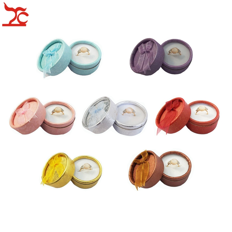 Wholesale 12Pcs Cute Small Round Paper Jewelry Display Ribbon Box 7 Color Available Ring Storage Organizer Gift Box 5*3.5cm