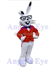 White Easter Bunny Mascot Costumes Adult Easter Bugs Rabbit with Red Coat Fancy Carnival Cosplay Costumes SW1543(China)