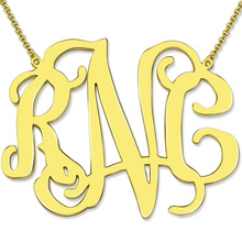 XXL 2 Inch Celebrity Monogram Necklace Gold Color Personalized Large Size Monogram Statement Jewelry  Mother's Day Gift