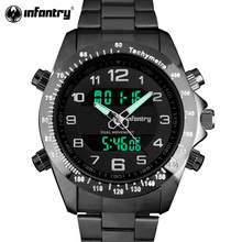 INFANTRY Men Quartz Watches Military Alarm Digital Watches Sports Top Brand Luxury Full Steel Clock 2017 Relogio Masculino(Hong Kong,China)