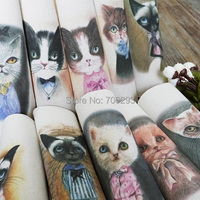 Hand dyed 10Assorted Cotton Linen Printed Quilt Fabric For DIY Sewing Patchwork Home Textile Decor 20x20cm retro cat