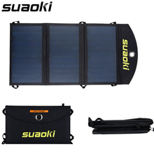 Suaoki Portable 20W Folding Foldable Solar Panel Charger Waterproof Mobile Power Bank for Phone Battery Dual USB Port Outdoor(China)