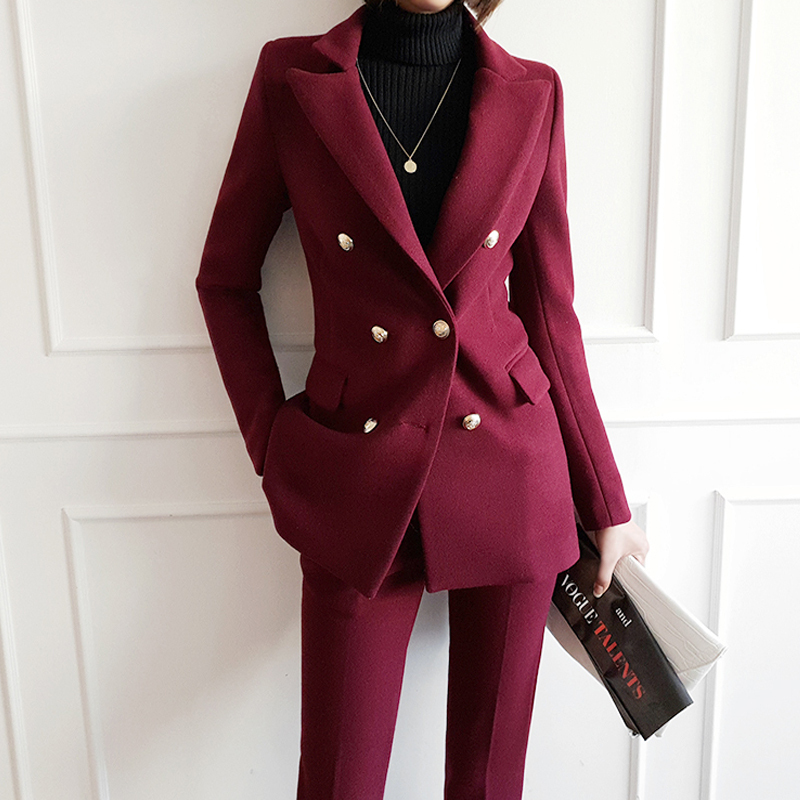 High-quality European and American women new winter suit Slim Nizi fashion casual two-piece suit