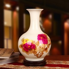 Jingdezhen ceramics factory wholesale white peony flower vase with modern straw direct Home Furnishing ornaments