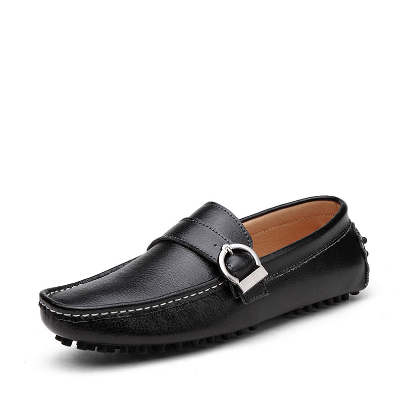 Fashion Men Loafers Soft Leather Men Shoes Casual Gommino Driving Slip On Black Blue<br>