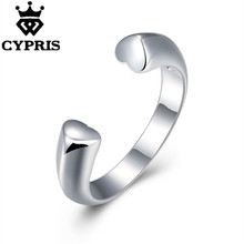 double heart open resizable adjustable  Silver plated new design finger ring for lady cute fancy wholesale price stamp