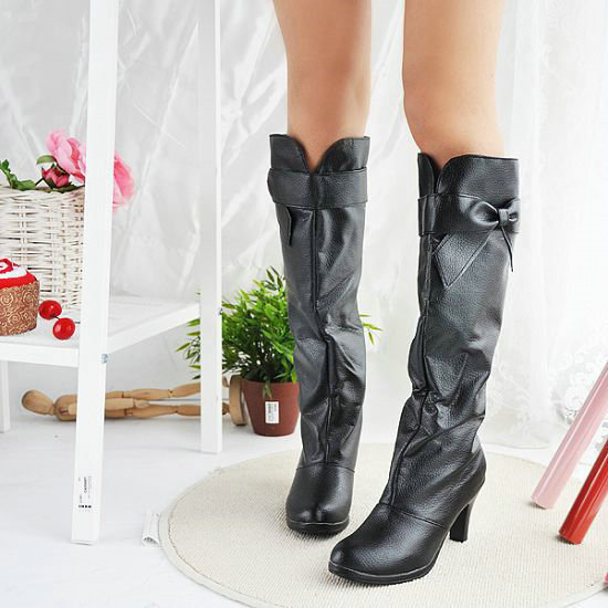 Winter ladies fashion and lovely bowknot drape high-heeled thigh-high boots large size 34-47<br><br>Aliexpress
