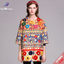 High Quality Fashion Runway Designer Coat Women's Autumn Fuzzy Ball Diamonds Beading Baroque Printed Embossed Outerwear Free DHL(China)
