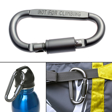 D-Shaped Camping Carabiner Aluminum Alloy Screw Lock Hook Clip Key Ring Outdoor Camping Climbing Tools High Quality Accessories(China)