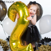 1pc 40 inch Gold Silver Number Balloons Helium Foil Balons Wedding Birthday Anniversary Party Decor Kids Toys Globos Supplies(China)