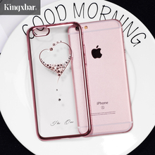 KINGXBAR Cover for iPhone 7 Plus Cover Shell Swarovski Crystal Diamond Rhinestone Rose Flower Hard Case for iPhone 7 Plus Case