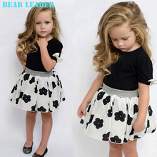 Bear Leader 2016 New Fashion Kids Girls Clothes Set Black Bowknot Short T-shirt +Flowers Ball Gown Dress 2pcs Clothing Sets