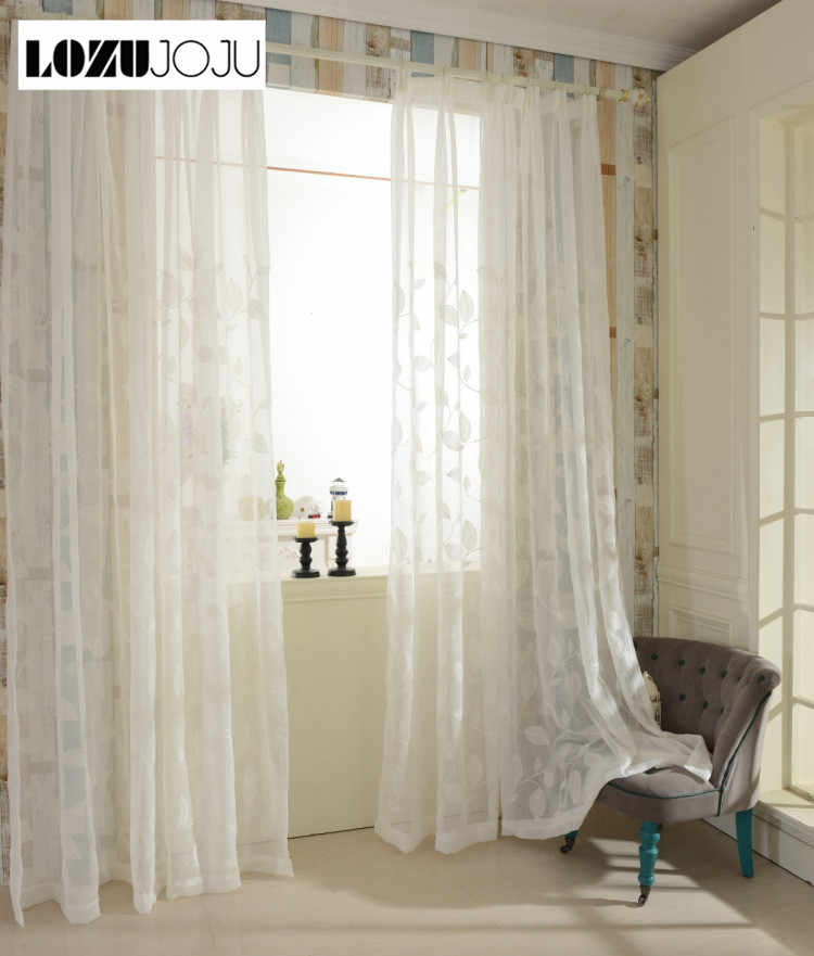 LOZUJOJU Embroidered linen curtain white for bedroom living room windows free shipping tulle leaves design fabric thread drapery