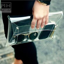 Transparent Casual clutch bag Handbags Viscose Fashion women's handbags Man hand capture Unisex  Solid Day Clutches