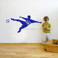 Customer Made Soccer Man Wall Sticker Personalized Name and Number Football Player Vinyl Decal for Kids Boys Room Decor