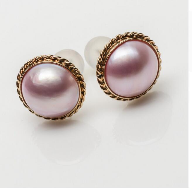 10-11mm Purple Genuine Mabe Cultured Pearl  Solid 14k Yellow Gold