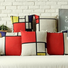 Modern Nordic Red White Square Geometric Design Decorative Sofa Throw Pillow Cases Decoration Art Car Pillow Cushion Cover 45x45