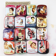 European Vintage Tin Box Mac Makeup Cosmetic Organizer Collectable Box Beauty Girl Picture Print Metal Container 8Piece/lot