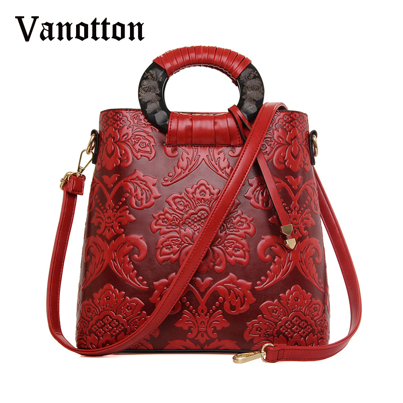 Fashion Brand Women Embossed Handbag With Flowers Bucket Bag Large Tote Bag National Floral Pattern Shoulder Messenger Bags<br>