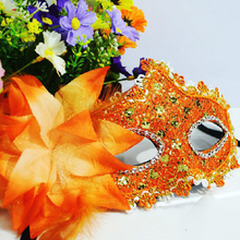 Orange halloween mask make-up mask dance half face Venetian mask rhinestone sequins lily princess party dress up props