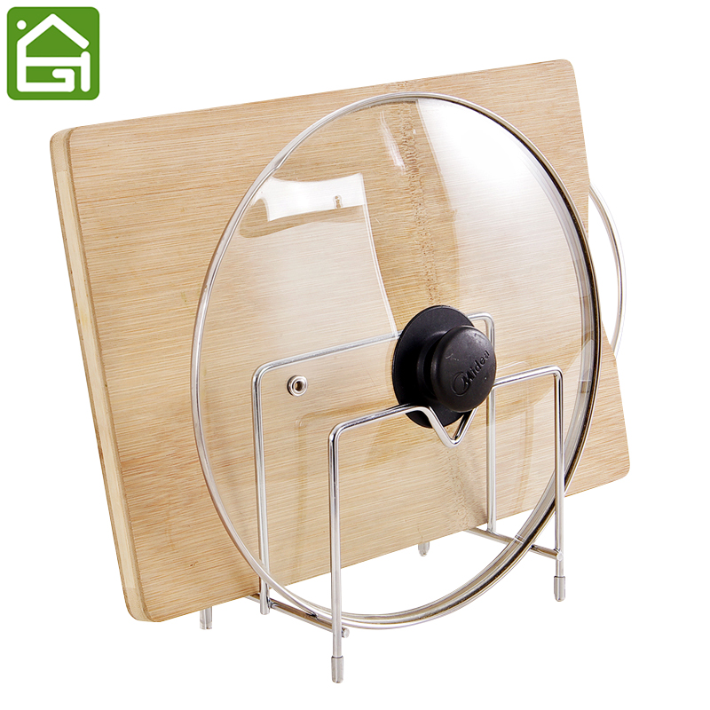 Stainless Steel Cutting Board Pot Dish Holder Double Layers Kitchen Tool Drain Stand Rack(China)