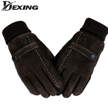 Men 's leather plus velvet thickening warm gloves autumn and winter riding windproof cold pig skin gloves