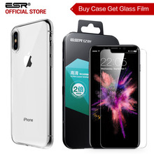 Case for iphone X, ESR Soft TPU bumper Clear Jelly Case for iPhoneX Free gift [Buy 1 case get 1 Glass Screen Protector for free](China)