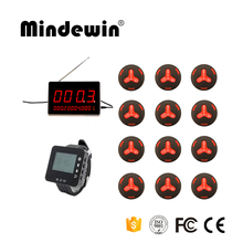 Mindewin Paging System In Wireless Communication 12pcs Service Call Buttons +1pc LED Display Receiver + 1pc Wrist Watch Pager(China)