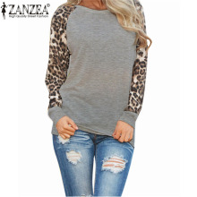 Zanzea Women Blouse Brand New Blusas Femininas Casual Leopard Printed Chiffon Long Sleeve Patchwork Sexy Shirts Tops Plus Size