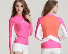Hawaii Women UV Wetsuits Long Sleeve Rash Guard Top  Base Layer Shirt UPF 50+ Pink Blue Free Shipping