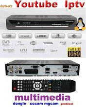YouTube hd media play 1080P Iptv set top tox dvb s2 mpeg4 hd receiver cccam rceeiver dongle sharing hd satellite receiver(China)