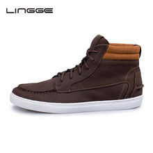 LINGGE Brand Full Grain Leather Boots Old Skool Men Boots Fashion High Top Men's Shoes Ankle Rubber Boots #5335-1