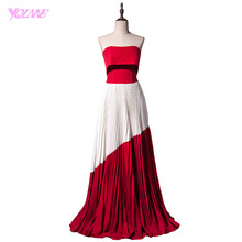 YQLNNE 2018 Fashion Red Splice White Strapless Evening Dress Long Women Party Red Carpet Dresses Robe De Soiree(China)