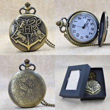 Unisex Bronze Harry Potter Round Dial Quartz Pocket Watch Necklace Chain Watch Gift Regarder P250