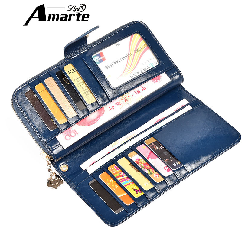 Amarte New Genuine Leather Women Wallets Long Purse bolsa feminina ladies Card Holder Wallet Fashion Female Purses<br><br>Aliexpress