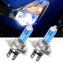 2 Pcs Cool White H4 Halogen Xenon 100W Car Auto Headlight Headlamp Replacement Lamp Lights Bulb DC12V 5000K for Car Accessories